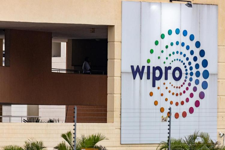 Wipro office with huge logo on the right hand side of image put up on the wall