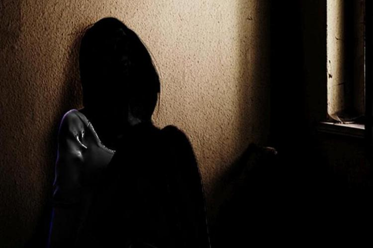 Womans silhouette showing her sitting inside a room