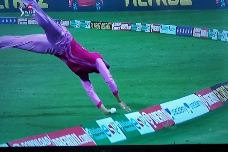 Chantams acrobatic save against Supernovas in Womens T20 Challenge final