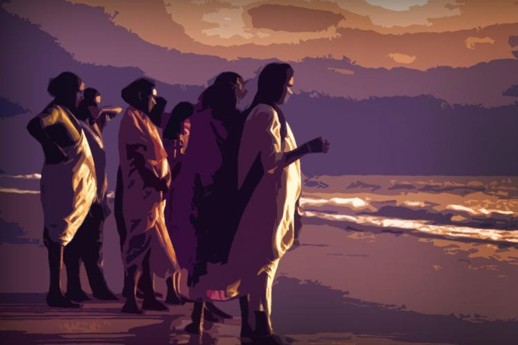 Stylized image of a small group of women in different attires like saree and salwar on a beach looking to the sea