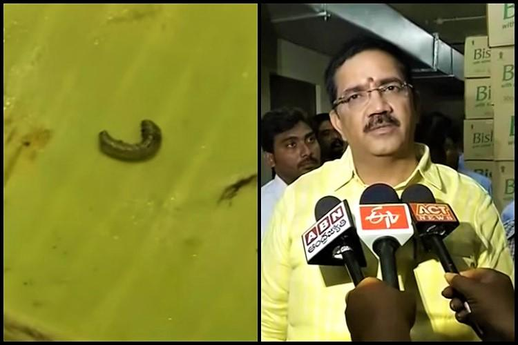 TDP MLA finds worm in his breakfast at Vijayawada hotel outlet gets sealed after raids