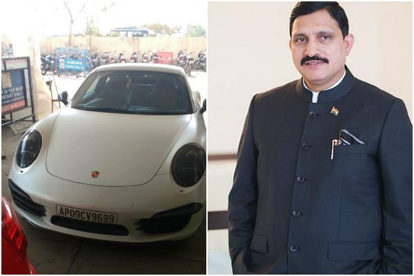 Loan-defaulter ministers son booked for rash-driving on his fancy Porsche