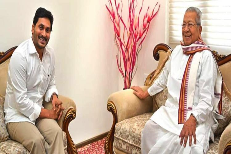 CM YS Jagan Mohan Reddy shares a lighter moment with Governer Biswabhusan