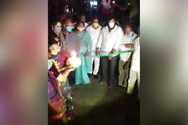 A celebratory march was carried out by MLA Jakkampudu Raja and YSRCP party leaders