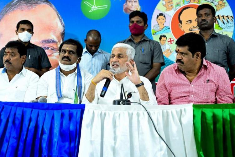 MP and YSRCP national general secretary Vijayasai Reddy addressing the media
