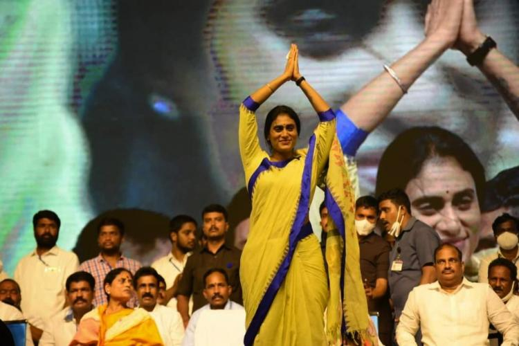 YS Sharmila Reddy greeting her cadres in a recent grand public meeting at Khammam of Telangana