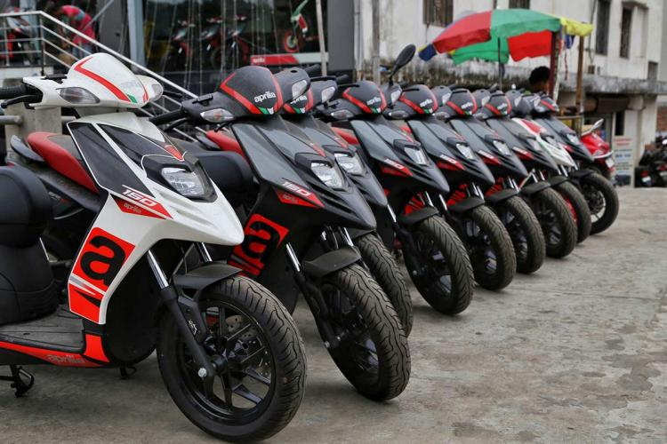 Yamaha Aprillas in a line at the showroom