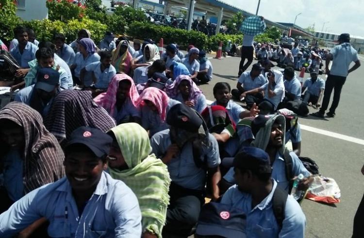 3700 Yamaha Royal Enfield Myoung Shin workers go on strike near Chennai