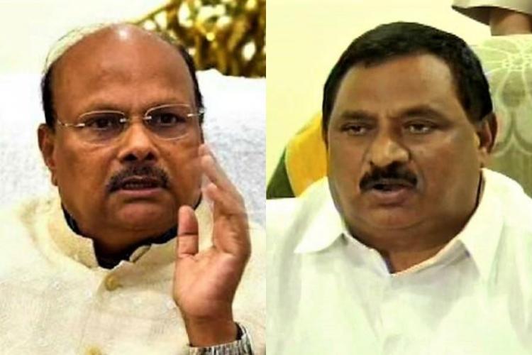 TDP leaders and former ministers Yanamala Ramakrishnudu on the left and Nimmakayala Chinarajappa on the right