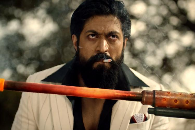 Actor Yash with a cigarette in his mouth from KGF