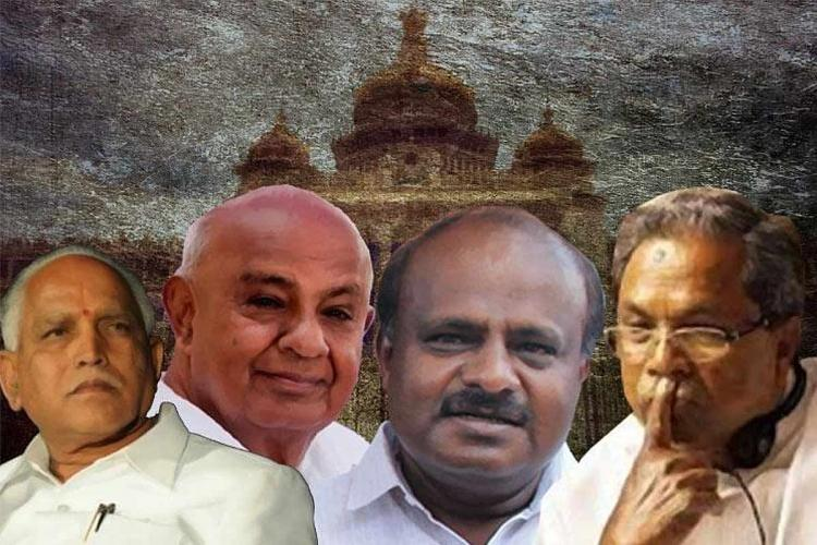 A collage of BS Yediyurappa HD Kumaraswamy HD Devegowda and Siddaramaiah