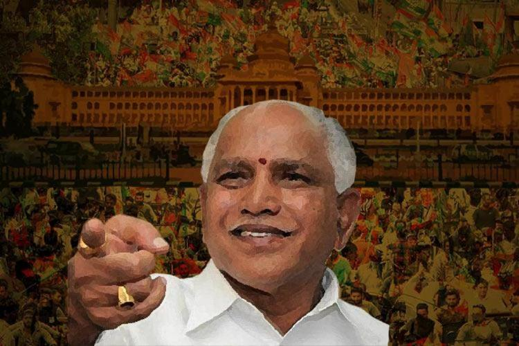 A stylized photo showing Yediyurappa pointing behind the camera and smiling Behind him a sketch of Bangalores Vidhan Soudha