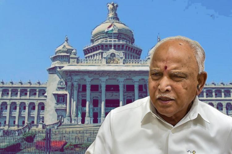 Karnataka Chief Minister BS Yediyurappa with the Vidhan Soudha background