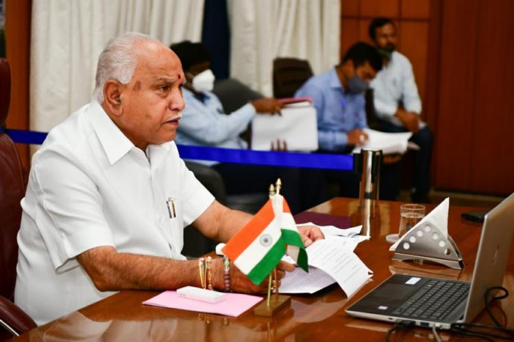 Karnataka Chief Minister BS Yediyurappa seated at his desk