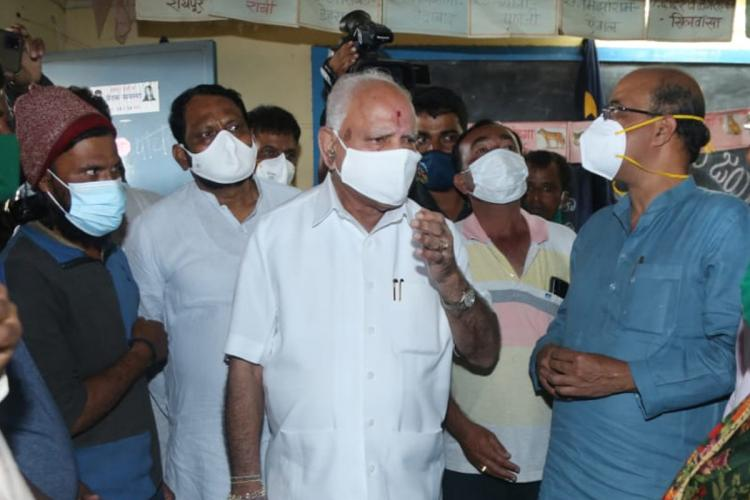 BS Yediyurappa during flood review along with other ministers and officials