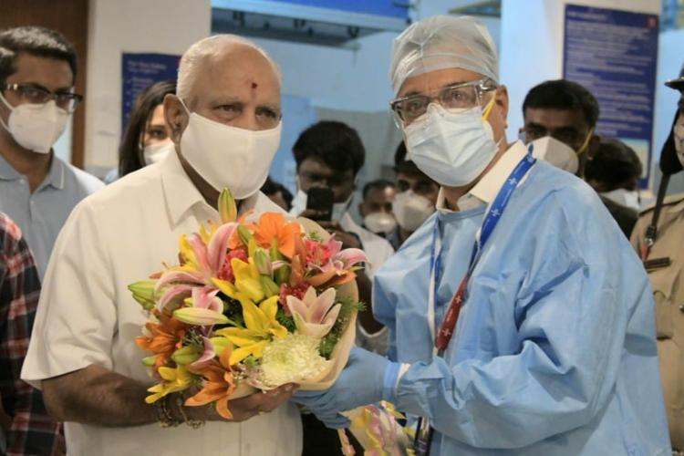 Karnataka CM BS Yediyurappa after being discharged from hospital