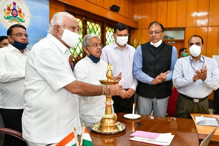 CM BSY lights virtual lamp to kick start construction of Shivamogga airport