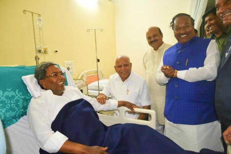 Karnataka CM Yediyurappa visits Siddaramaiah in hospital wishes him speedy recovery