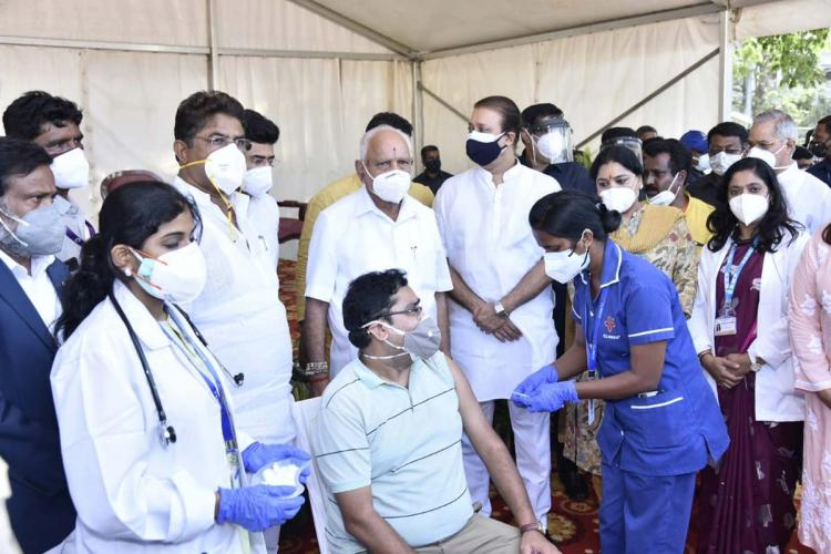 CM BS Yediyurappa along with Minister R Ashoka in a vaccination camp in Bengaluru
