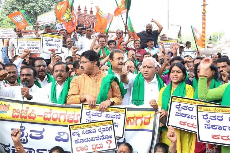 BJP takes to the street in support of farmers protesting in Karnataka