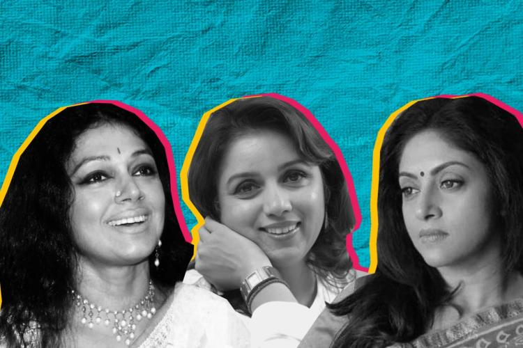 Black and white pictures of actors Shobana, Revathy and Nadiya set against a blue background