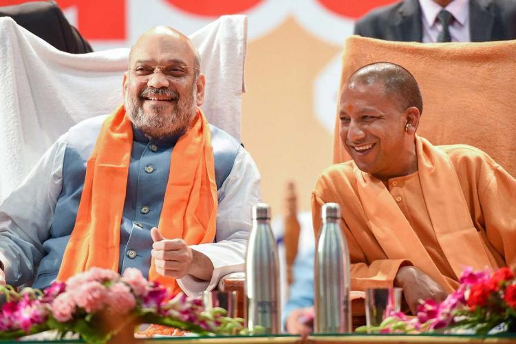 Home Minister Amit Shah and Uttar Pradesh CM Yogi Adithyanath shares a moment
