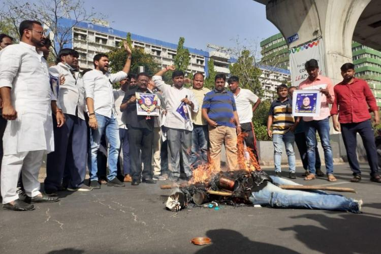 Youth Congress members protesting after death of Sunil Naik