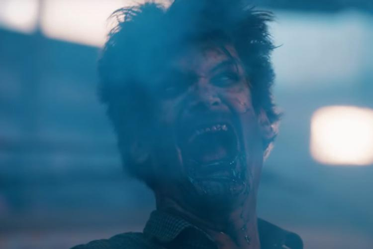 A still from the Telugu movie Zombie Reddy teaser showing a male zombie screaming