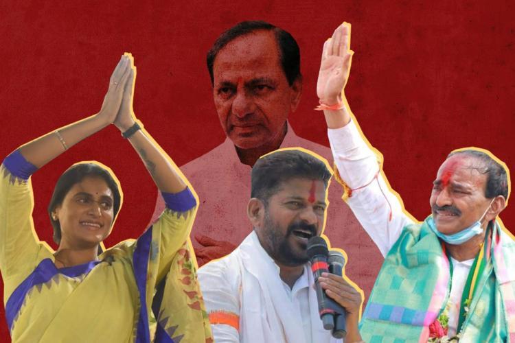 Collage of KCR, YS Sharmila, Revanth Reddy and Eatala Rajender