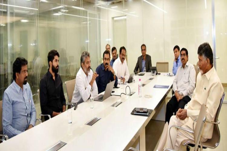 SS Rajamouli meets AP CM Naidu presents designs for Amaravati