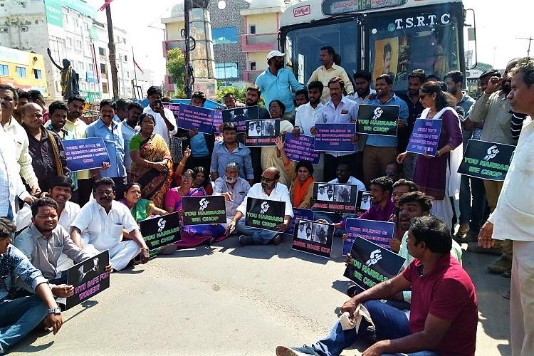 Son nabbed for serial sexual harassment citizens want TRS leader suspended