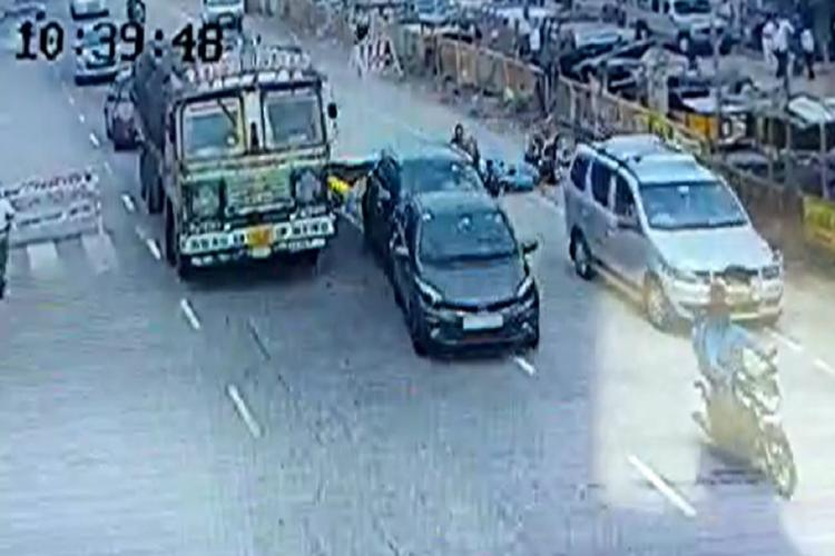 A ford brezza rams into several vehicles standing idle at a traffic stop at chotuppal