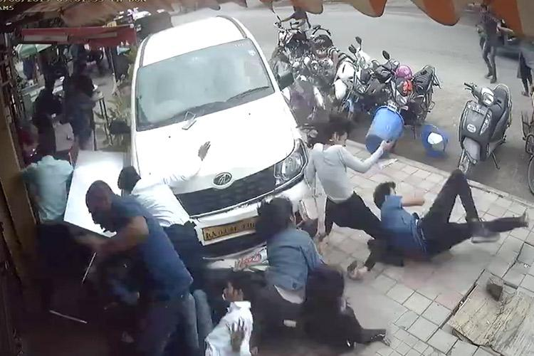 CCTV visuals show drunk driver ramming car into pedestrians on Bengaluru footpath