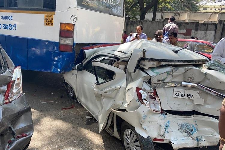 Six cars damaged as BMTC Volvo bus triggers serial collision in Bengaluru