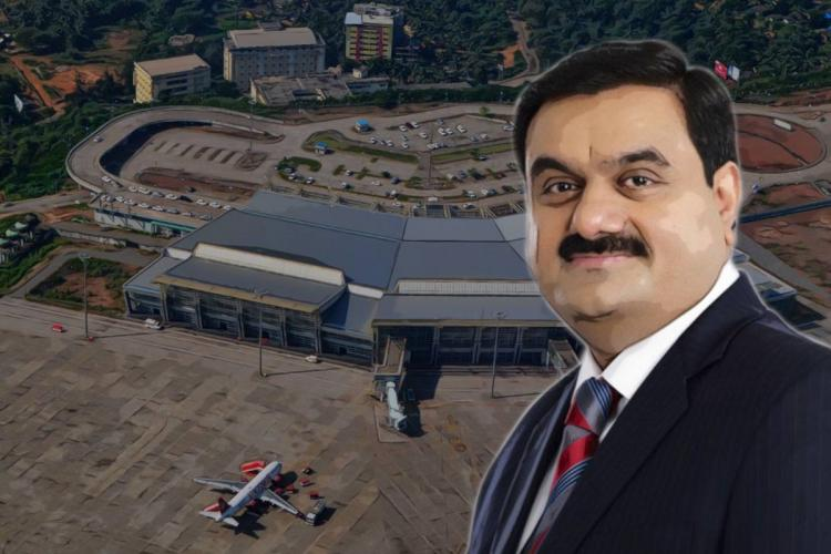 An image of Gautam Adani with the Mangalore airport in the background