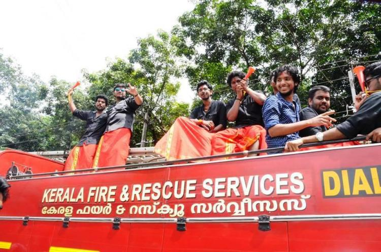 Engineering colleges Onam rally that had students piling on vehicles including a fire truck