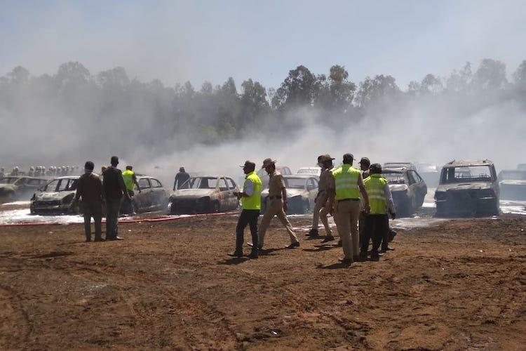 Aero India 2019 300 cars gutted as fire breaks out in parking lot