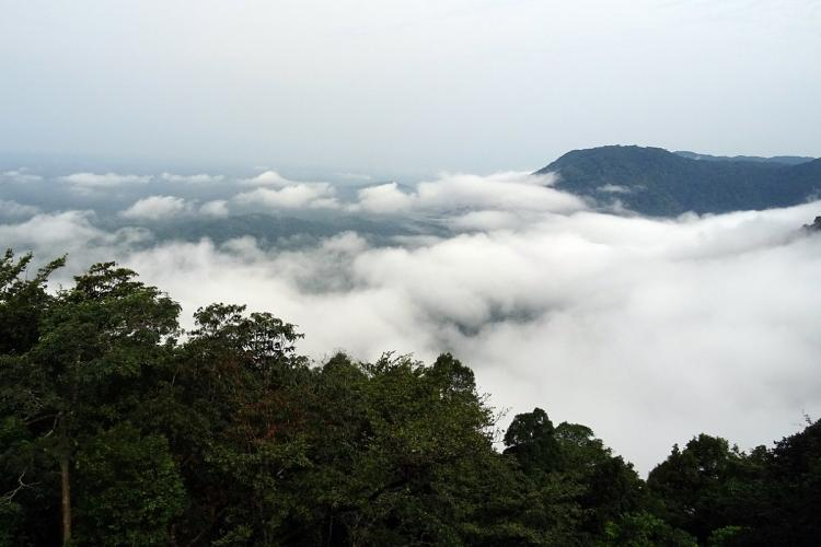 Rain clouds gather in Agumbe Karnataka around the hills and forests