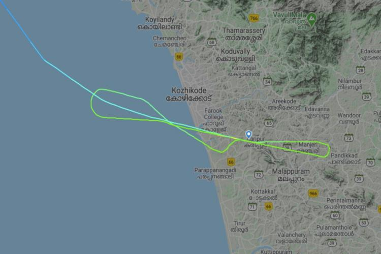 A flight tracker showing the path of the Air India Express flight