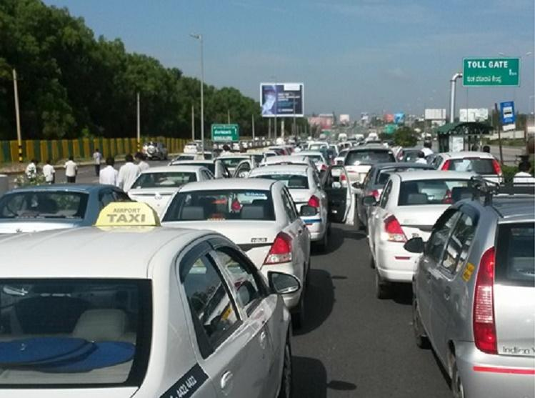 Snap protest by Ola Uber drivers chokes traffic on Bluru airport road commuters delayed