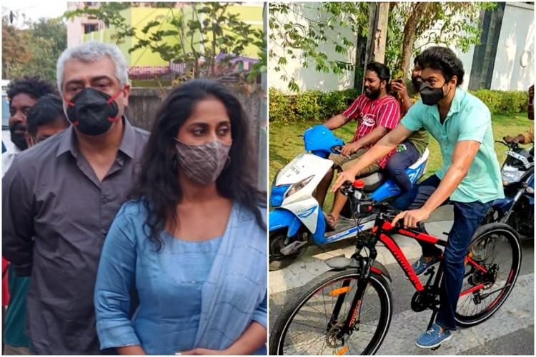 Collage of actors Ajith and Vijay. Ajith is wearing a black and red mask while waiting in line to vote. Vijay is riding a black and red cycle on the way to vote.
