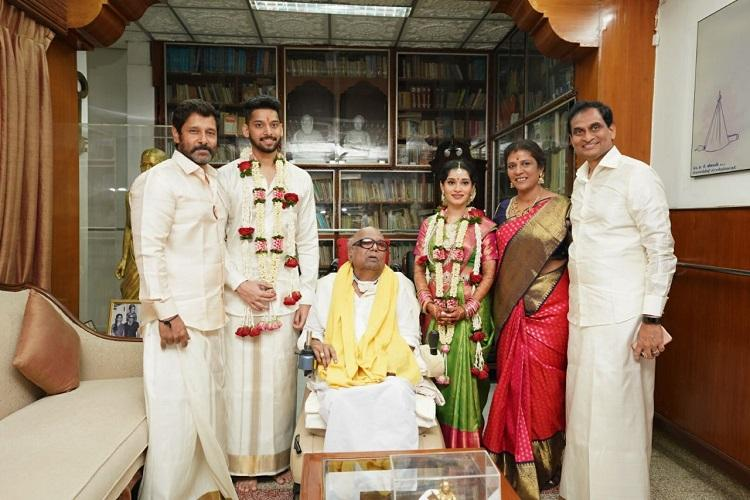 Vikram's daughter ties knot with Karunanidhi's great grandson