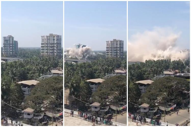 Twin towers of illegal luxury apartment in Kochis Maradu razed down in seconds