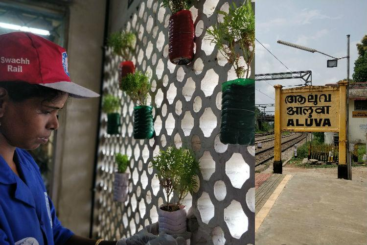 This station in Kerala has found a clever way to upcycle plastic Vertical gardens