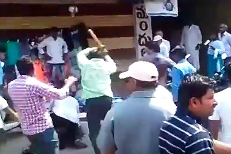 Angry over damaging article TDP MLAs brother and goons thrash journalist in broad daylight