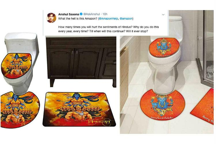 a99a64a1a  BoycottAmazon trends after Twitter users find toilet seat covers with  Hindu deity images