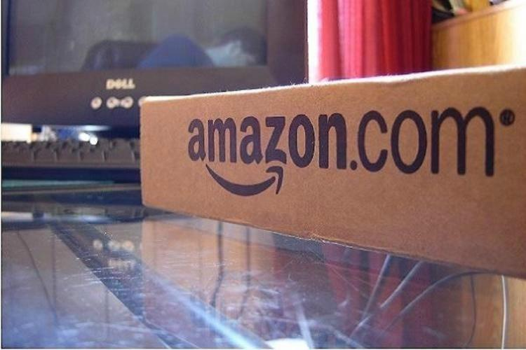 An box sitting on a table with the Amazoncom logo on it