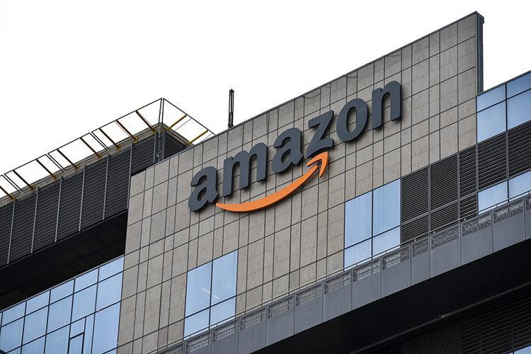 Amazon logo on top of its office building in Hyderabad