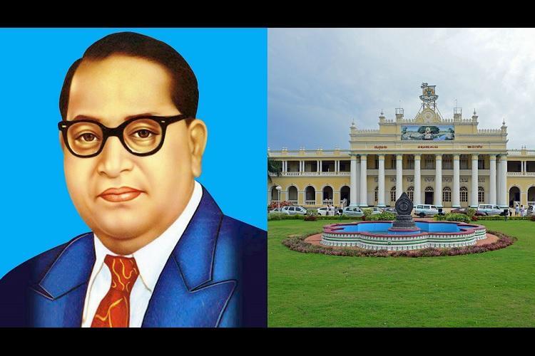Dalit students slam Mysore uni registrar for allegedly removing Ambedkar portrait from office