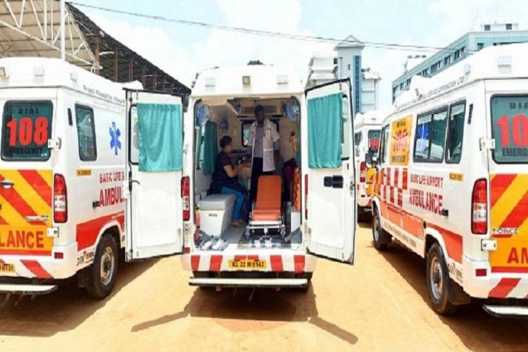 108 ambulances ready to take patients is open with a paramedic visible inside the ambulance